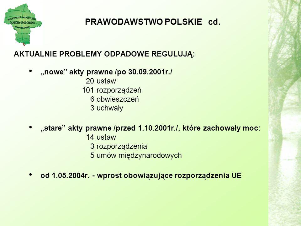 AKTUALNIE PROBLEMY ODPADOWE REGULUJĄ: nowe akty prawne /po 30.09.2001r./ 20 ustaw 101 rozporządzeń 6 obwieszczeń 3 uchwały stare akty prawne /przed 1.10.2001r./, które zachowały moc: 14 ustaw 3 rozporządzenia 5 umów międzynarodowych od 1.05.2004r.