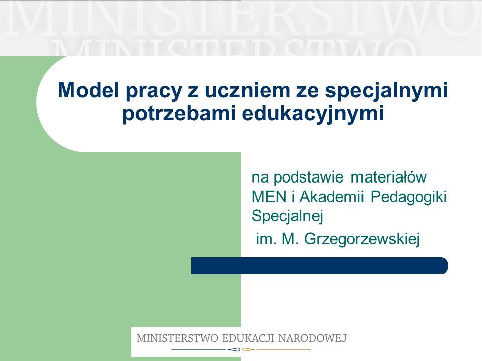 Model pracy z uczniem ze specjalnymi potrzebami edukacyjnymi na podstawie materiałów MEN i Akademii Pedagogiki Specjalnej im. M. Grzegorzewskiej