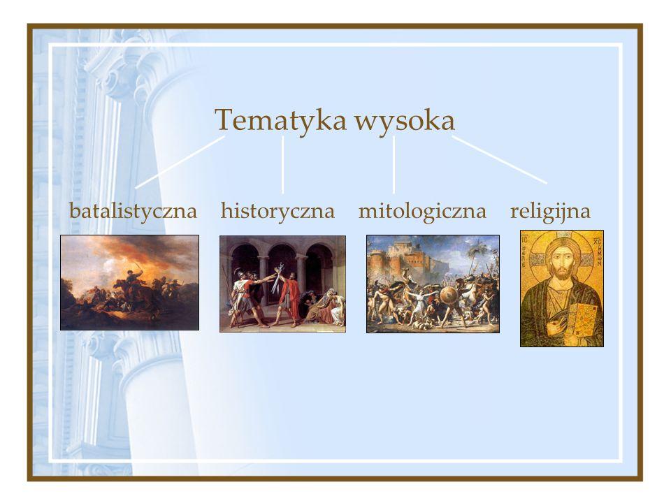 Tematyka wysoka batalistyczna historyczna mitologiczna religijna