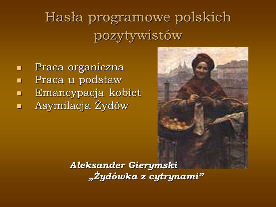 Hasła programowe polskich pozytywistów Praca organiczna Praca organiczna Praca u podstaw Praca u podstaw Emancypacja kobiet Emancypacja kobiet Asymila