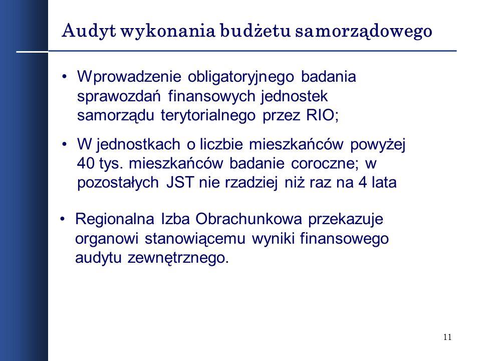 11 Audyt wykonania budżetu samorządowego Wprowadzenie obligatoryjnego badania sprawozdań finansowych jednostek samorządu terytorialnego przez RIO; W j