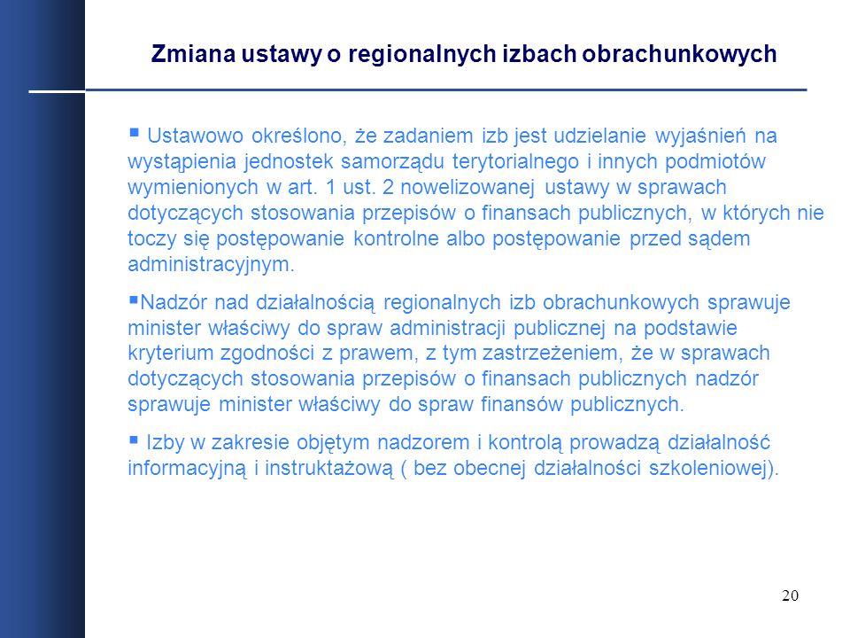 20 Ustawowo określono, że zadaniem izb jest udzielanie wyjaśnień na wystąpienia jednostek samorządu terytorialnego i innych podmiotów wymienionych w a