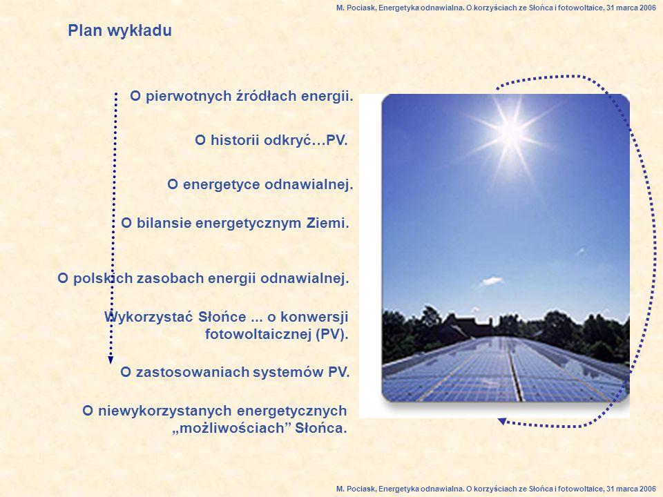 Plan wykładu O pierwotnych źródłach energii.O energetyce odnawialnej.