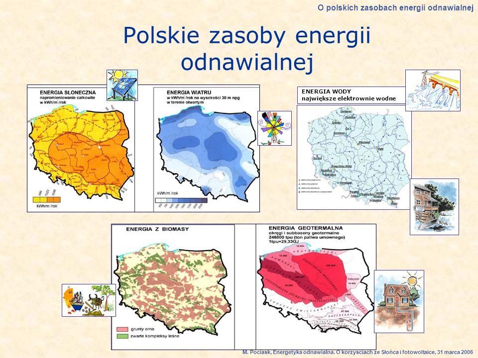 Polskie zasoby energii odnawialnej ENERGIA WODY największe elektrownie wodne O polskich zasobach energii odnawialnej M.