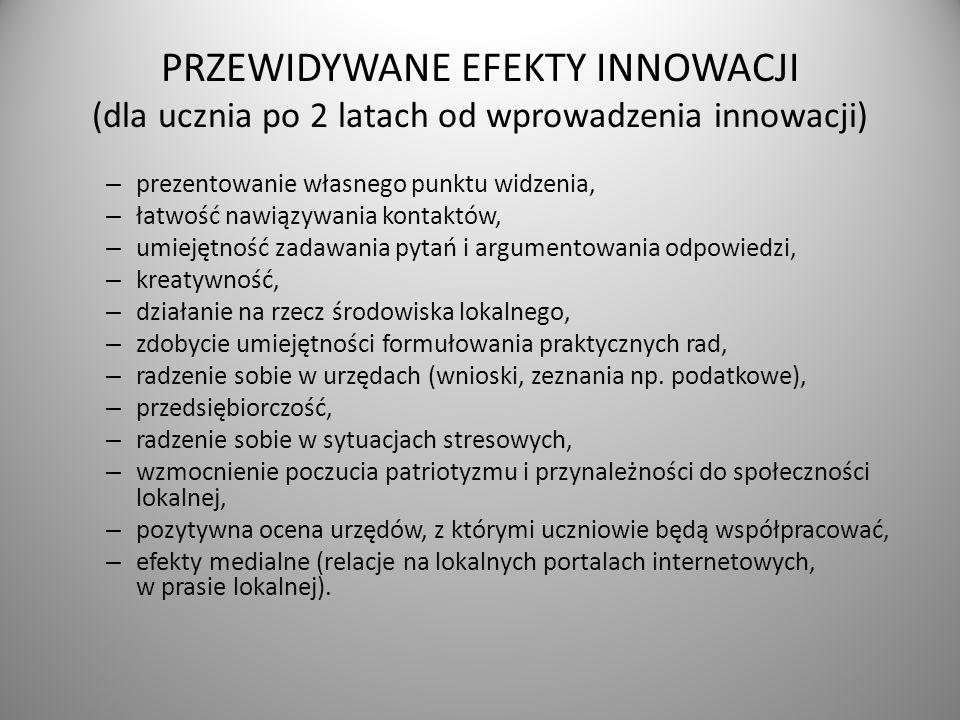 PRZEWIDYWANE EFEKTY INNOWACJI (dla ucznia po 2 latach od wprowadzenia innowacji) – prezentowanie własnego punktu widzenia, – łatwość nawiązywania kont