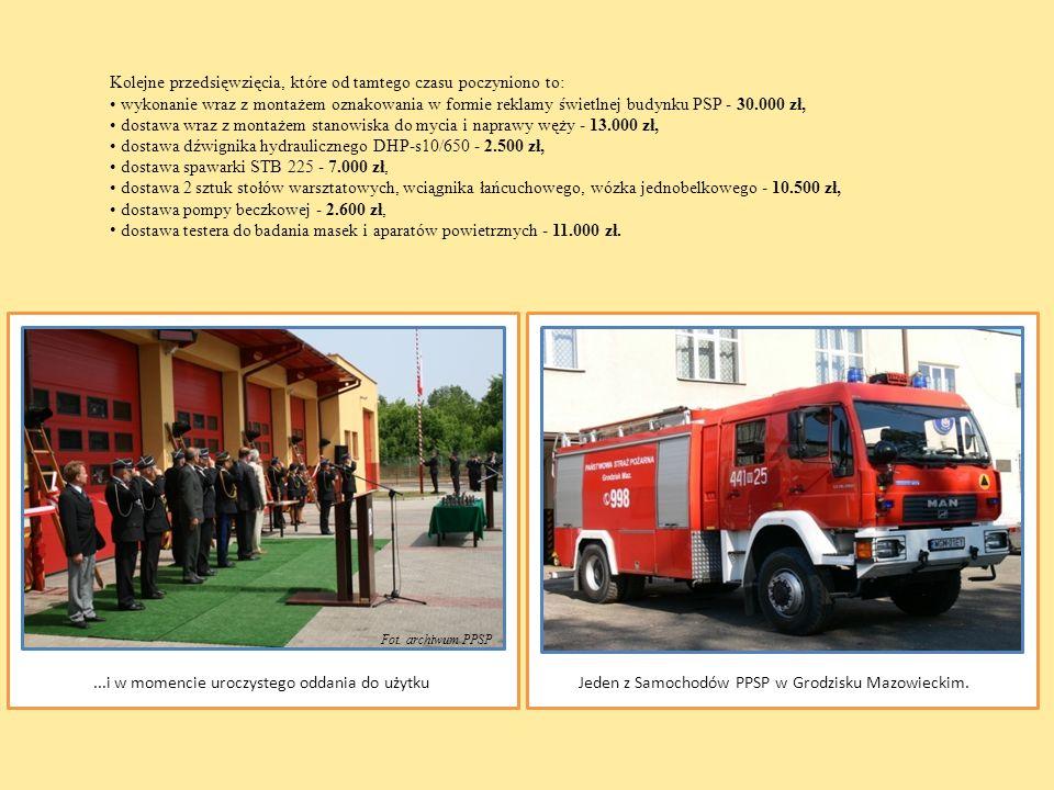 Kolejne przedsięwzięcia, które od tamtego czasu poczyniono to: wykonanie wraz z montażem oznakowania w formie reklamy świetlnej budynku PSP - 30.000 z