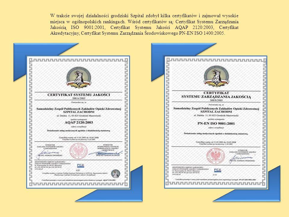 W trakcie swojej działalności grodziski Szpital zdobył kilka certyfikatów i zajmował wysokie miejsca w ogólnopolskich rankingach. Wśród certyfikatów s