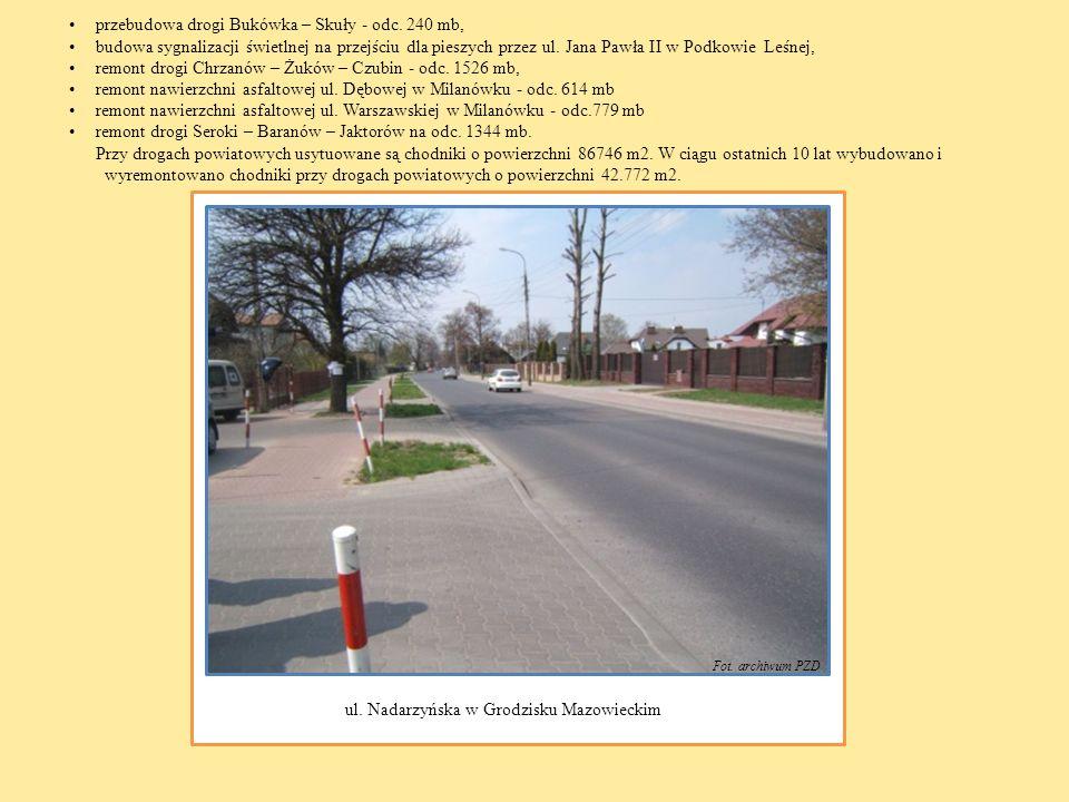 przebudowa drogi Bukówka – Skuły - odc. 240 mb, budowa sygnalizacji świetlnej na przejściu dla pieszych przez ul. Jana Pawła II w Podkowie Leśnej, rem