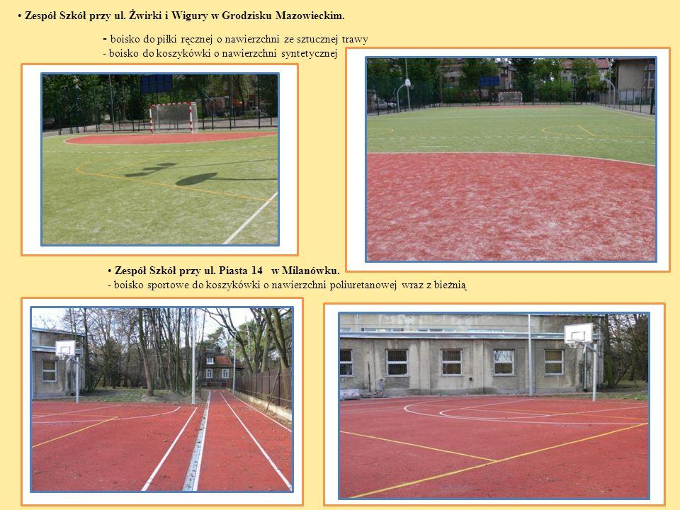 - boisko do piłki ręcznej o nawierzchni ze sztucznej trawy - boisko do koszykówki o nawierzchni syntetycznej Zespół Szkół przy ul. Piasta 14 w Milanów