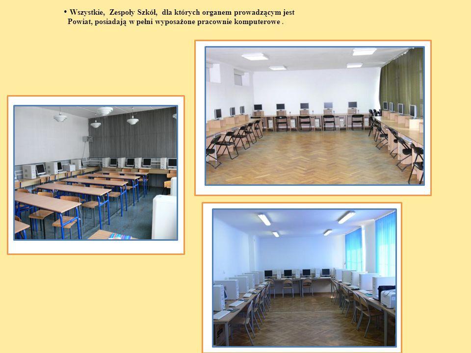 Wszystkie, Zespoły Szkół, dla których organem prowadzącym jest Powiat, posiadają w pełni wyposażone pracownie komputerowe.