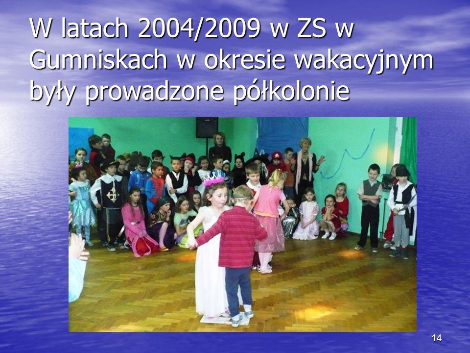 14 W latach 2004/2009 w ZS w Gumniskach w okresie wakacyjnym były prowadzone półkolonie