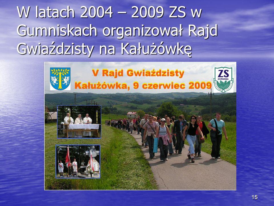 15 W latach 2004 – 2009 ZS w Gumniskach organizował Rajd Gwiaździsty na Kałużówkę