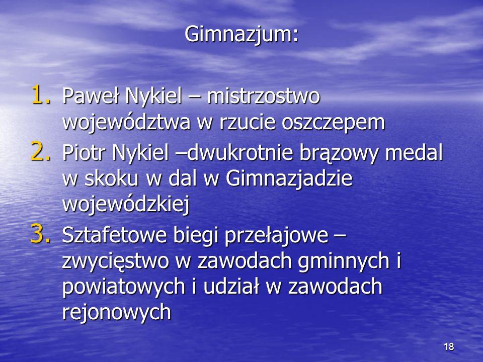 18 Gimnazjum: 1. Paweł Nykiel – mistrzostwo województwa w rzucie oszczepem 2.