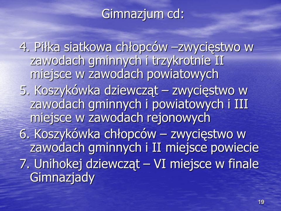 19 Gimnazjum cd: 4.