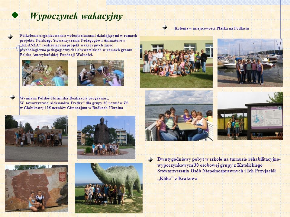 Wypoczynek wakacyjny Półkolonia organizowana z wolontariuszami działającymi w ramach projektu Polskiego Stowarzyszenia Pedagogów i Animatorów KLANZA realizującymi projekt wakacyjnych zajęć psychologiczno pedagogicznych i obywatelskich w ramach grantu Polsko Amerykańskiej Fundacji Wolności.