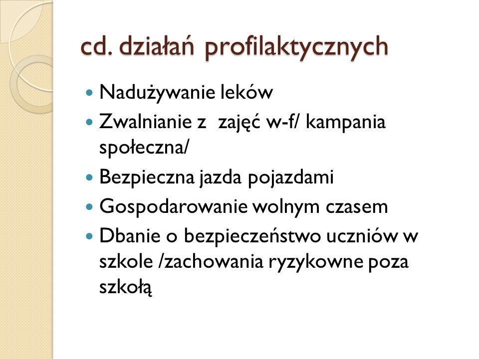 cd. działań profilaktycznych Nadużywanie leków Zwalnianie z zajęć w-f/ kampania społeczna/ Bezpieczna jazda pojazdami Gospodarowanie wolnym czasem Dba