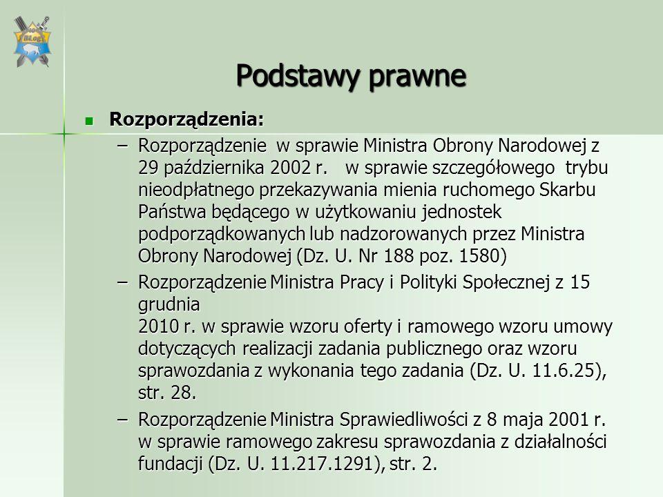 Podstawy prawne Rozporządzenia: Rozporządzenia: –Rozporządzenie w sprawie Ministra Obrony Narodowej z 29 października 2002 r. w sprawie szczegółowego