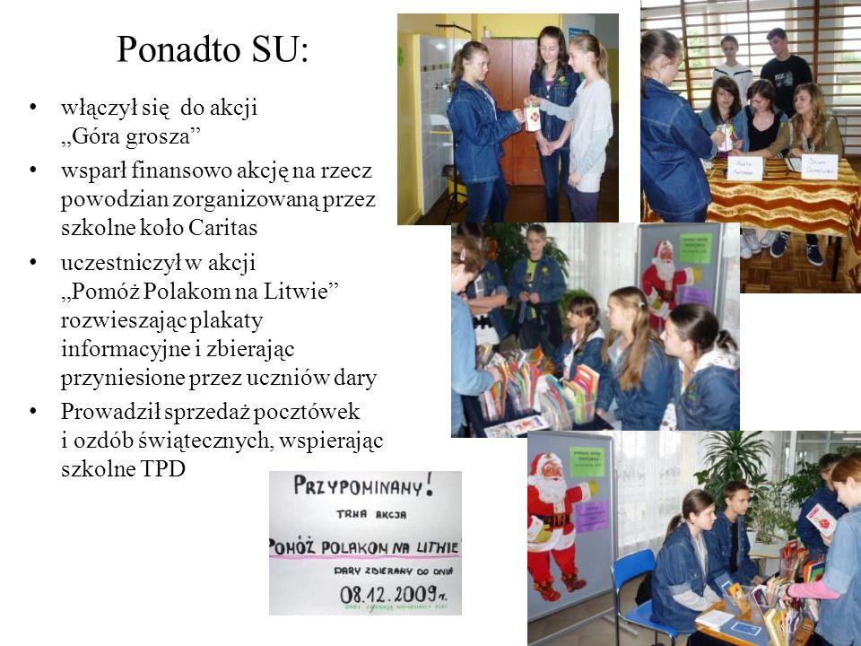 włączył się do akcji Góra grosza wsparł finansowo akcję na rzecz powodzian zorganizowaną przez szkolne koło Caritas uczestniczył w akcji Pomóż Polakom