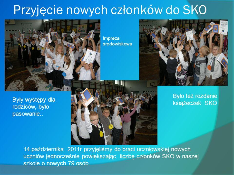 Przyjęcie nowych członków do SKO 14 października 2011r przyjęliśmy do braci uczniowskiej nowych uczniów jednocześnie powiększając liczbę członków SKO w naszej szkole o nowych 79 osób.