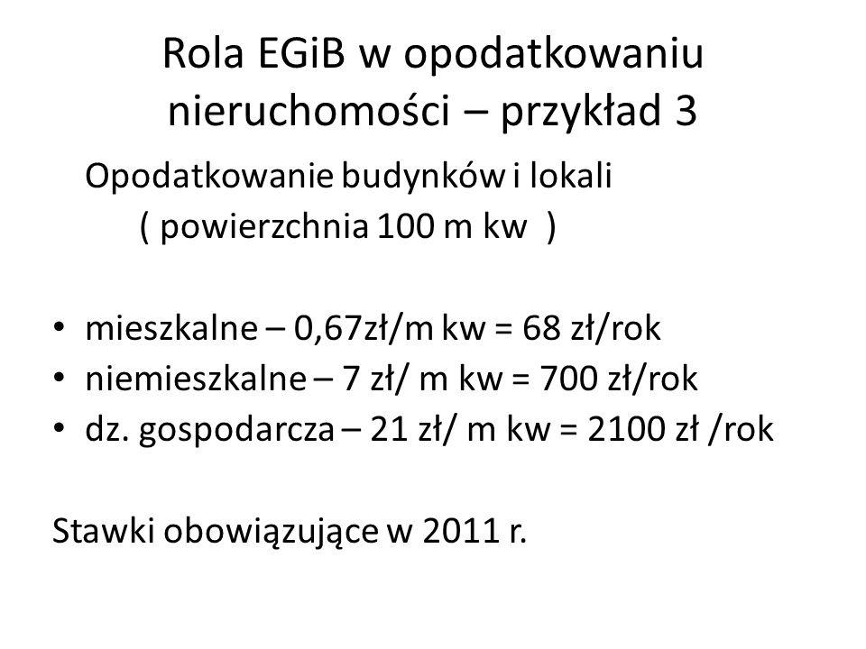 Rola EGiB w opodatkowaniu nieruchomości – przykład 3 Opodatkowanie budynków i lokali ( powierzchnia 100 m kw ) mieszkalne – 0,67zł/m kw = 68 zł/rok niemieszkalne – 7 zł/ m kw = 700 zł/rok dz.
