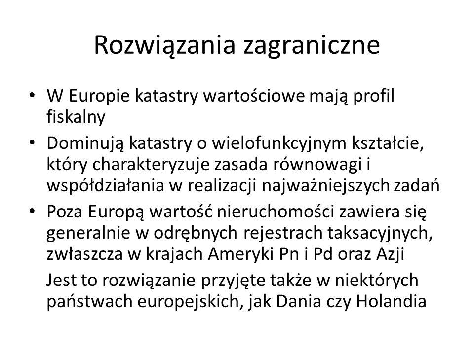 Rozwiązania zagraniczne W Europie katastry wartościowe mają profil fiskalny Dominują katastry o wielofunkcyjnym kształcie, który charakteryzuje zasada równowagi i współdziałania w realizacji najważniejszych zadań Poza Europą wartość nieruchomości zawiera się generalnie w odrębnych rejestrach taksacyjnych, zwłaszcza w krajach Ameryki Pn i Pd oraz Azji Jest to rozwiązanie przyjęte także w niektórych państwach europejskich, jak Dania czy Holandia