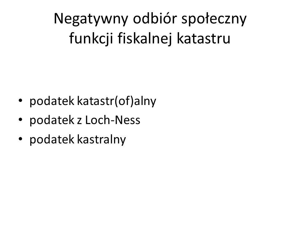 Negatywny odbiór społeczny funkcji fiskalnej katastru podatek katastr(of)alny podatek z Loch-Ness podatek kastralny
