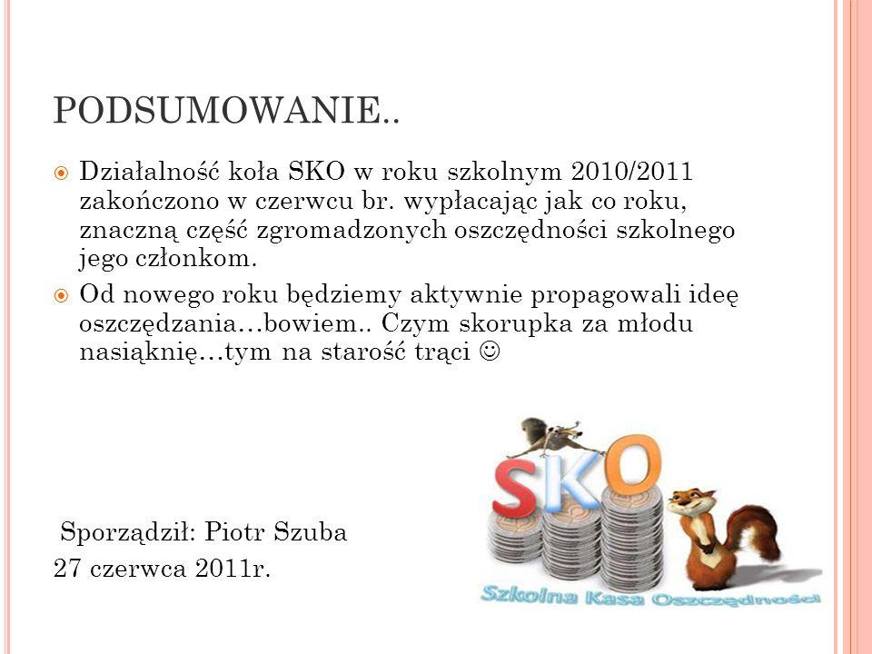 PODSUMOWANIE.. Działalność koła SKO w roku szkolnym 2010/2011 zakończono w czerwcu br. wypłacając jak co roku, znaczną część zgromadzonych oszczędnośc