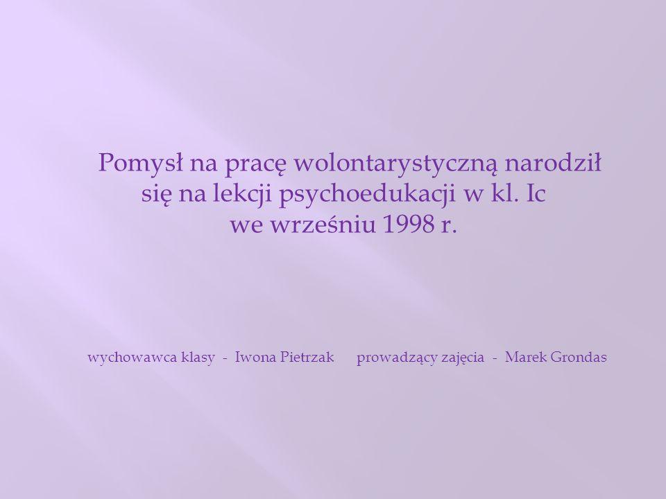 CENTRUM PROMOCJI I ROZWOJU INICJATYW OBYWATELSKICH OPUS, FUNDACJA POZA SCHEMATEM OKRES WSPÓŁPRACY - OD 2007 Nauczyciele – opiekunowie: Marta Broniarczyk Grażyna Kopańska – Stadryniak Iwona Pietrzak