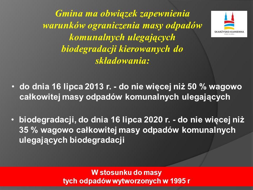 Gmina ma obwiązek zapewnienia warunków ograniczenia masy odpadów komunalnych ulegających biodegradacji kierowanych do składowania: do dnia 16 lipca 2013 r.