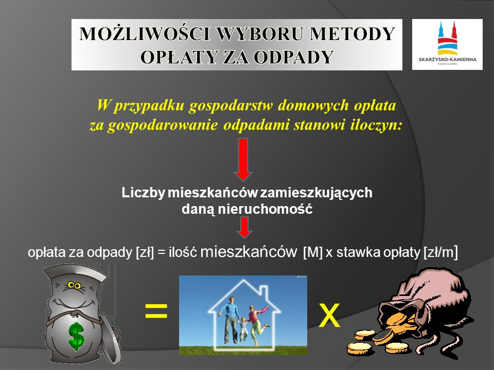 W przypadku gospodarstw domowych opłata za gospodarowanie odpadami stanowi iloczyn: Liczby mieszkańców zamieszkujących daną nieruchomość opłata za odpady [zł] = ilość mieszkańców [M] x stawka opłaty [zł/m ] =x