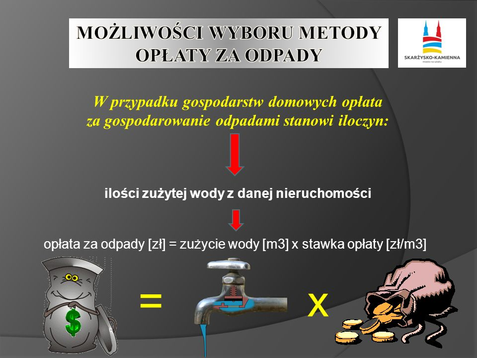 W przypadku gospodarstw domowych opłata za gospodarowanie odpadami stanowi iloczyn: ilości zużytej wody z danej nieruchomości opłata za odpady [zł] = zużycie wody [m3] x stawka opłaty [zł/m3] =x