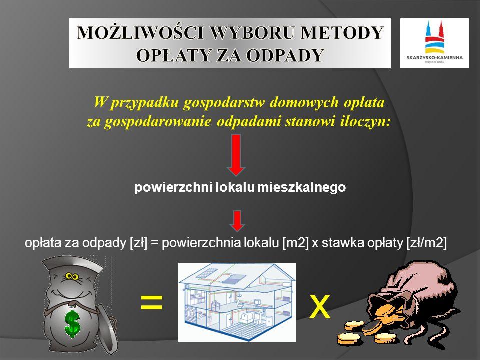 W przypadku gospodarstw domowych opłata za gospodarowanie odpadami stanowi iloczyn: powierzchni lokalu mieszkalnego opłata za odpady [zł] = powierzchnia lokalu [m2] x stawka opłaty [zł/m2] =x