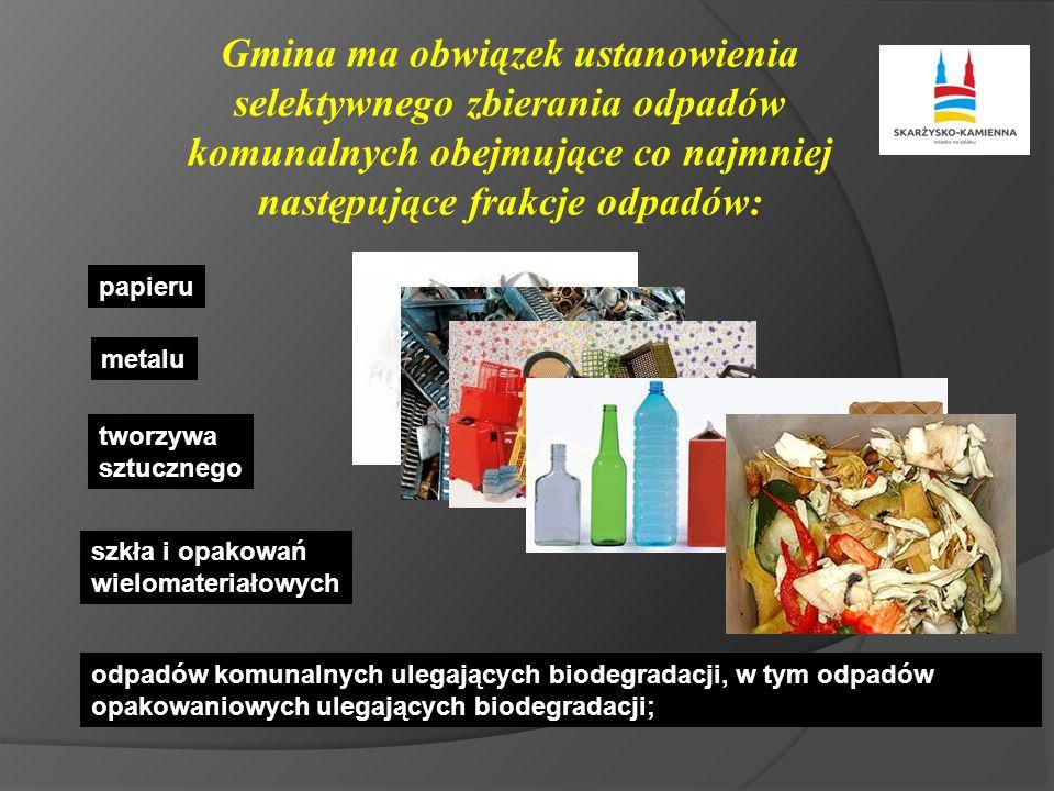 Gmina ma obwiązek ustanowienia selektywnego zbierania odpadów komunalnych obejmujące co najmniej następujące frakcje odpadów: papieru metalu tworzywa sztucznego szkła i opakowań wielomateriałowych odpadów komunalnych ulegających biodegradacji, w tym odpadów opakowaniowych ulegających biodegradacji;