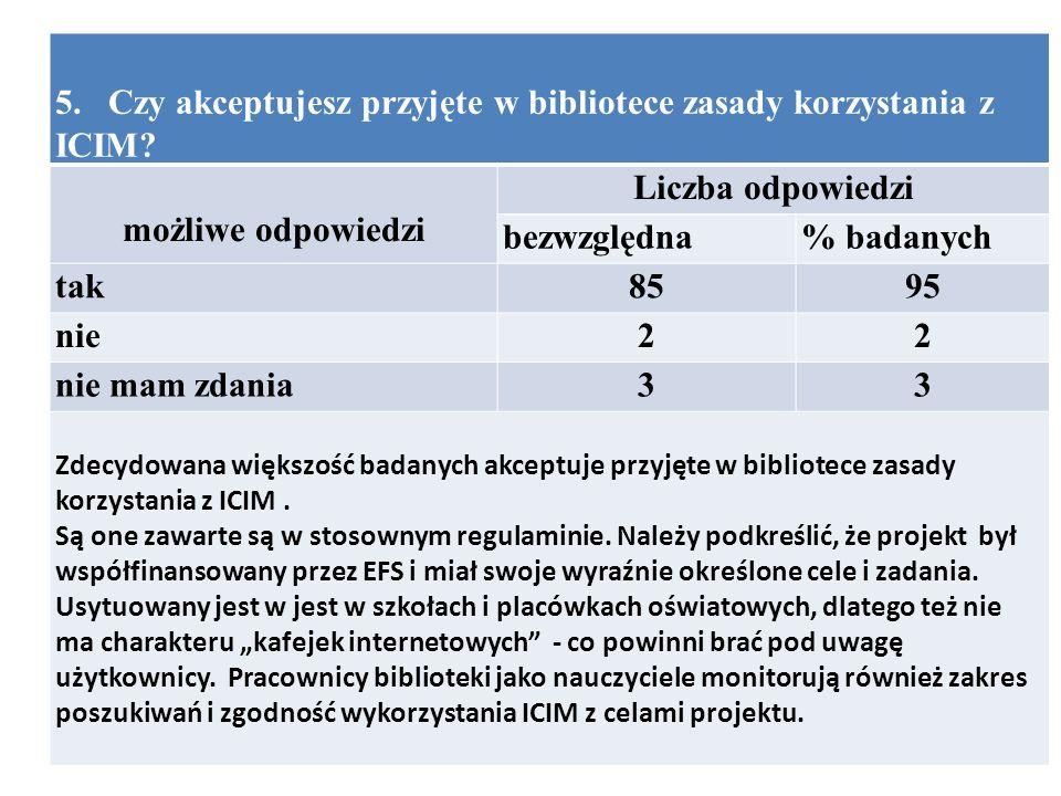5. Czy akceptujesz przyjęte w bibliotece zasady korzystania z ICIM.