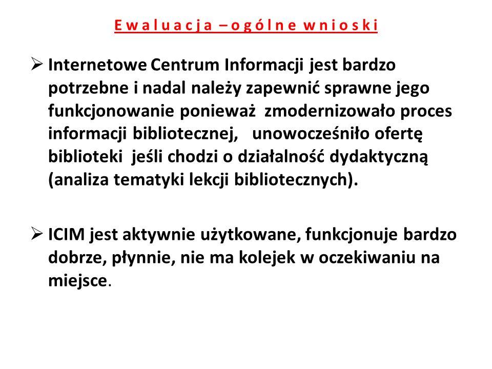 E w a l u a c j a – o g ó l n e w n i o s k i Internetowe Centrum Informacji jest bardzo potrzebne i nadal należy zapewnić sprawne jego funkcjonowanie ponieważ zmodernizowało proces informacji bibliotecznej, unowocześniło ofertę biblioteki jeśli chodzi o działalność dydaktyczną (analiza tematyki lekcji bibliotecznych).