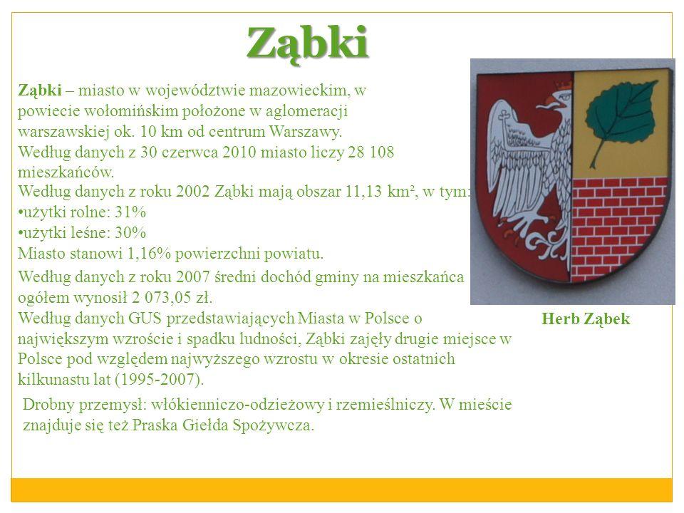 Ząbki Ząbki – miasto w województwie mazowieckim, w powiecie wołomińskim położone w aglomeracji warszawskiej ok. 10 km od centrum Warszawy. Według dany