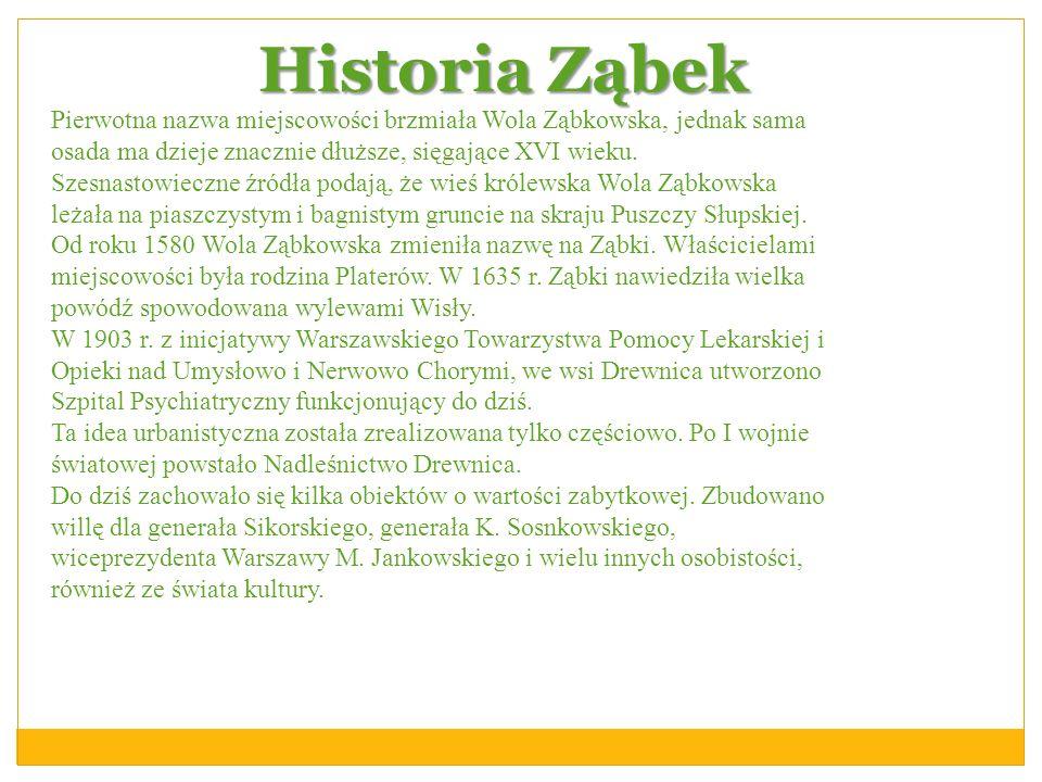 Historia Ząbek Pierwotna nazwa miejscowości brzmiała Wola Ząbkowska, jednak sama osada ma dzieje znacznie dłuższe, sięgające XVI wieku. Szesnastowiecz