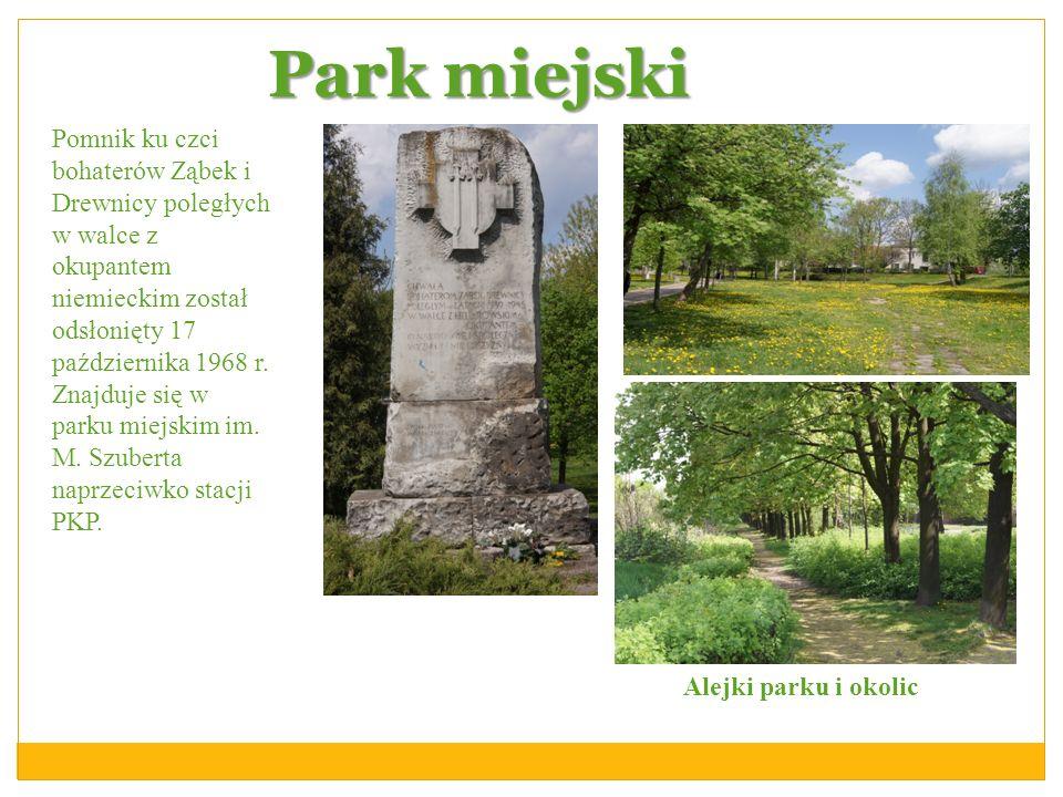 Park miejski Alejki parku i okolic Pomnik ku czci bohaterów Ząbek i Drewnicy poległych w walce z okupantem niemieckim został odsłonięty 17 październik