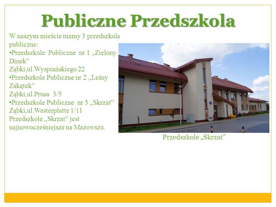 Publiczne Przedszkola W naszym mieście mamy 3 przedszkola publiczne: Przedszkole Publiczne nr 1 Zielony Dinek Ząbki,ul.Wyspiańskiego 22 Przedszkole Pu