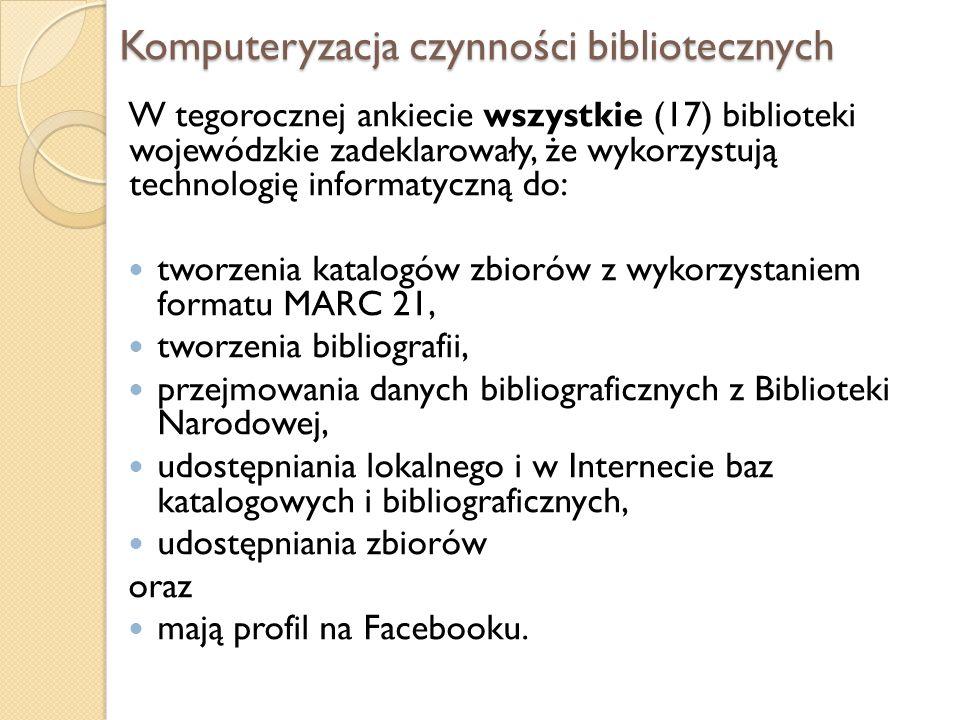 Komputeryzacja czynności bibliotecznych W tegorocznej ankiecie wszystkie (17) biblioteki wojewódzkie zadeklarowały, że wykorzystują technologię inform