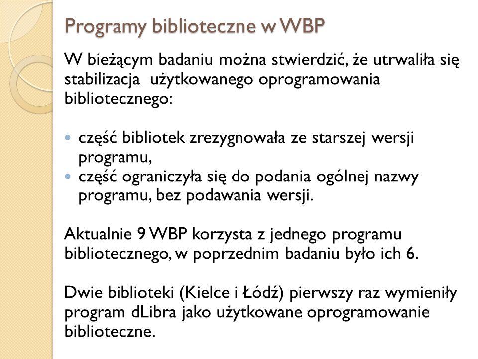 Programy biblioteczne w WBP W bieżącym badaniu można stwierdzić, że utrwaliła się stabilizacja użytkowanego oprogramowania bibliotecznego: część bibli