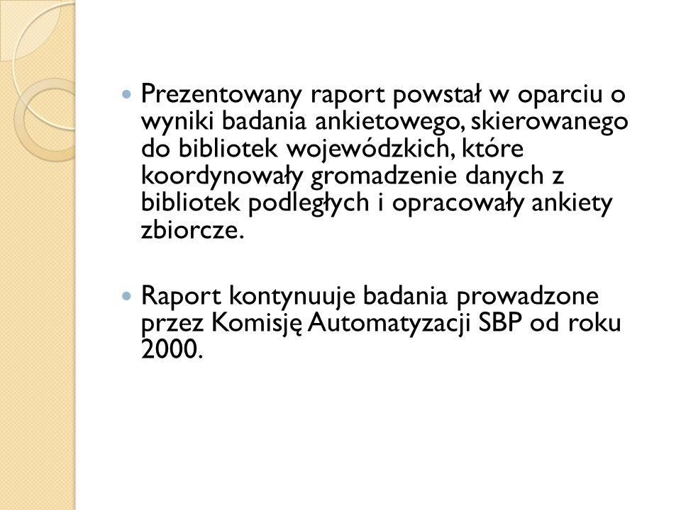 Prezentowany raport powstał w oparciu o wyniki badania ankietowego, skierowanego do bibliotek wojewódzkich, które koordynowały gromadzenie danych z bi