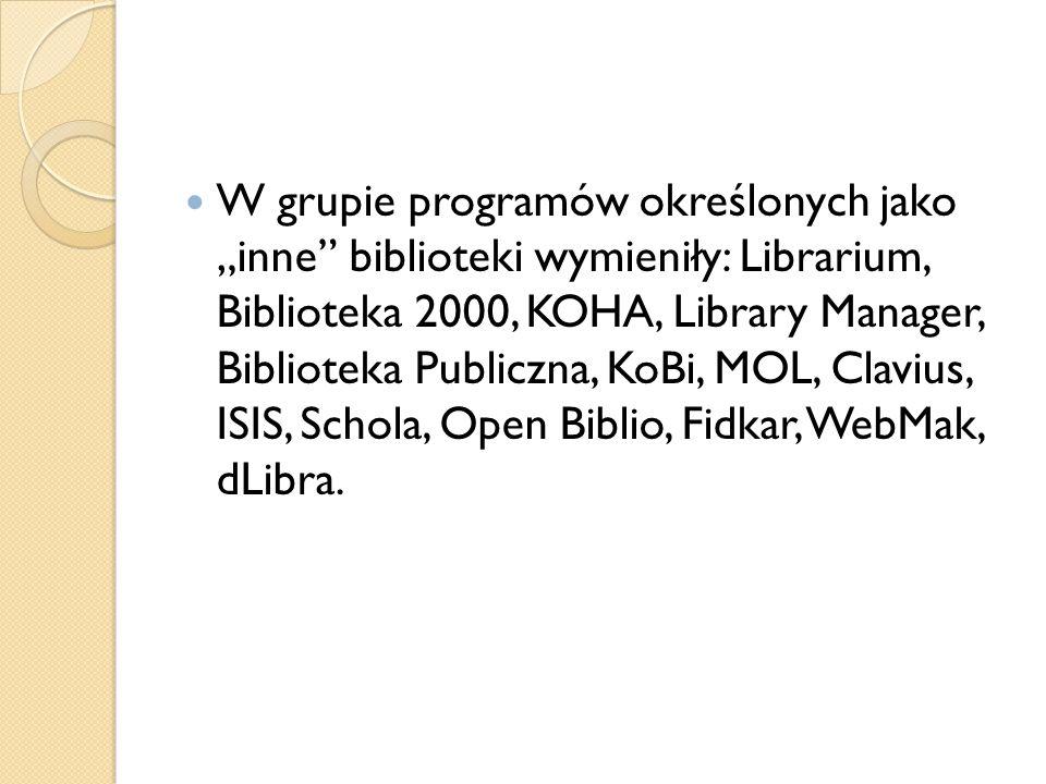 W grupie programów określonych jako inne biblioteki wymieniły: Librarium, Biblioteka 2000, KOHA, Library Manager, Biblioteka Publiczna, KoBi, MOL, Cla
