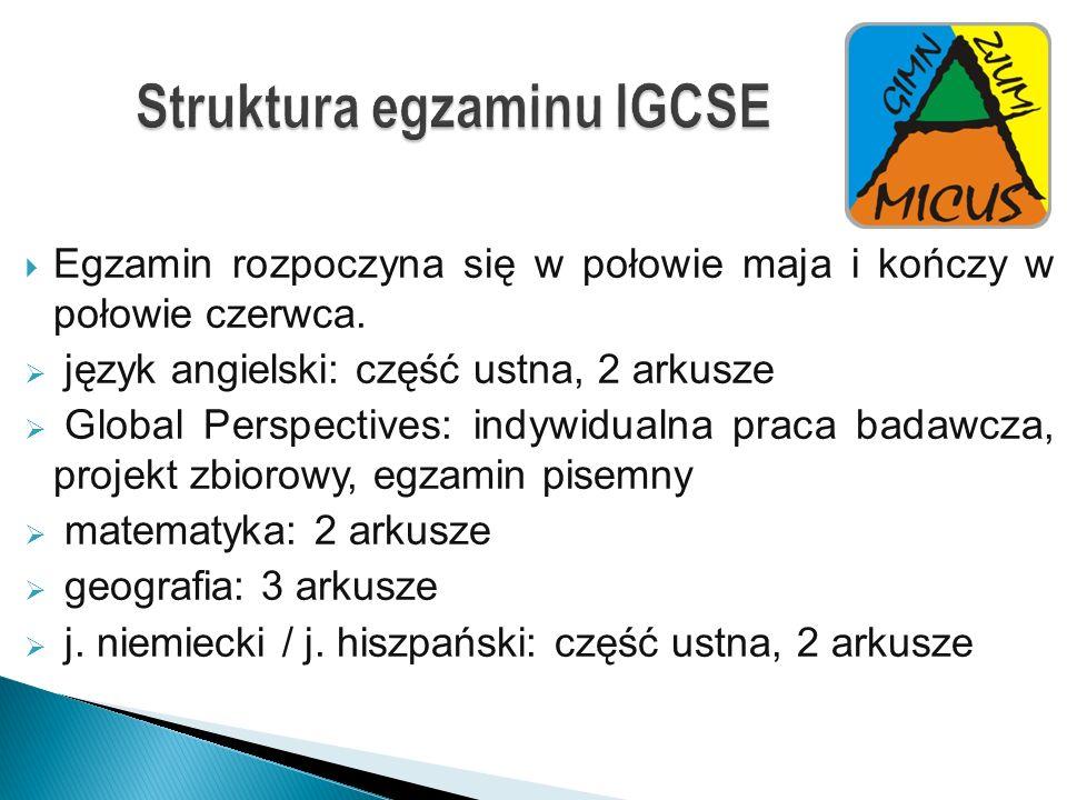 Struktura egzaminu IGCSE Egzamin rozpoczyna się w połowie maja i kończy w połowie czerwca. język angielski: część ustna, 2 arkusze Global Perspectives