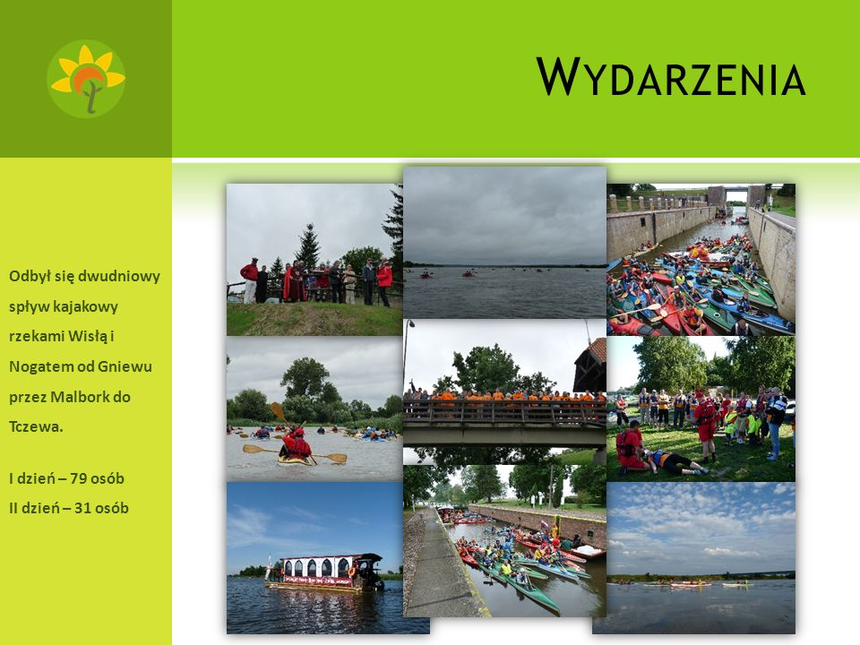 W YDARZENIA Odbył się dwudniowy spływ kajakowy rzekami Wisłą i Nogatem od Gniewu przez Malbork do Tczewa.