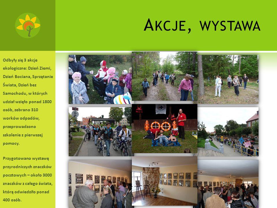 A KCJE, WYSTAWA Odbyły się 3 akcje ekologiczne: Dzień Ziemi, Dzień Bociana, Sprzątanie Świata, Dzień bez Samochodu, w których udział wzięło ponad 1800 osób, zebrano 310 worków odpadów, przeprowadzono szkolenie z pierwszej pomocy.