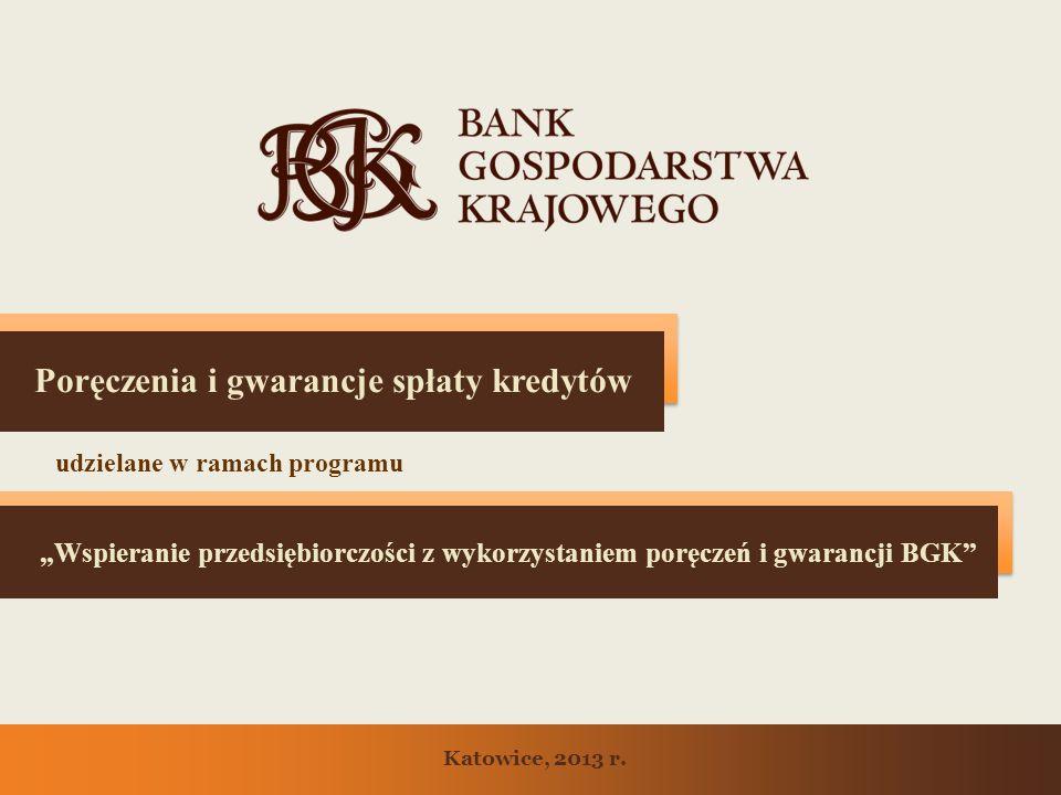 Wspieranie przedsiębiorczości z wykorzystaniem poręczeń i gwarancji BGK Poręczenia i gwarancje spłaty kredytów udzielane w ramach programu Katowice, 2