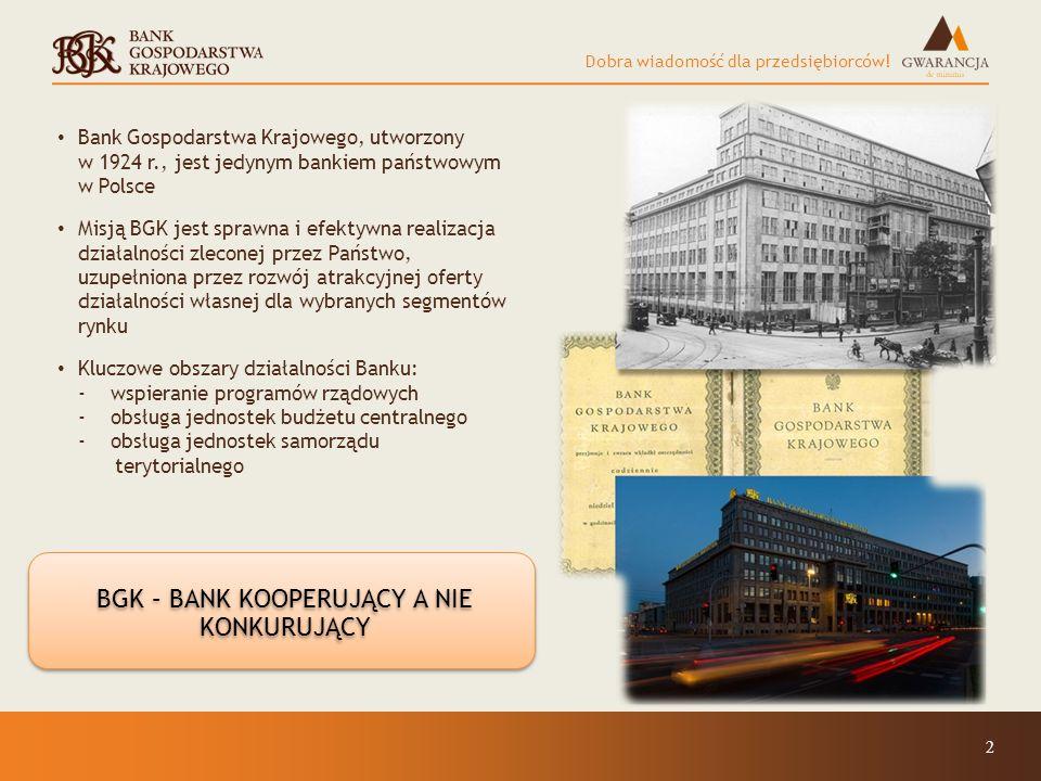 Dobra wiadomość dla przedsiębiorców! 2 Bank Gospodarstwa Krajowego, utworzony w 1924 r., jest jedynym bankiem państwowym w Polsce Misją BGK jest spraw