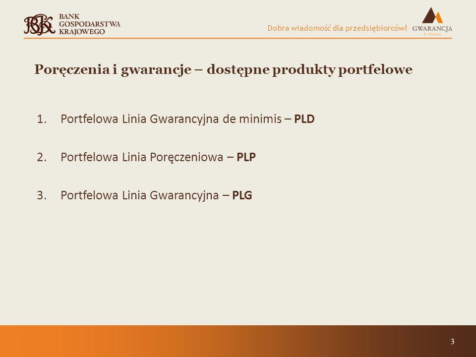 Dobra wiadomość dla przedsiębiorców! 3 Poręczenia i gwarancje – dostępne produkty portfelowe 1.Portfelowa Linia Gwarancyjna de minimis – PLD 2.Portfel