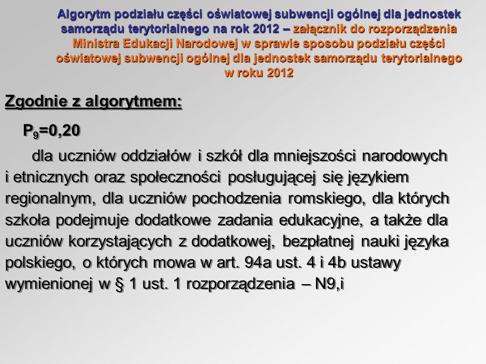 Algorytm podziału części oświatowej subwencji ogólnej dla jednostek samorządu terytorialnego na rok 2012 – załącznik do rozporządzenia Ministra Edukacji Narodowej w sprawie sposobu podziału części oświatowej subwencji ogólnej dla jednostek samorządu terytorialnego w roku 2012 Zgodnie z algorytmem: P 9 =0,20 dla uczniów oddziałów i szkół dla mniejszości narodowych i etnicznych oraz społeczności posługującej się językiem regionalnym, dla uczniów pochodzenia romskiego, dla których szkoła podejmuje dodatkowe zadania edukacyjne, a także dla uczniów korzystających z dodatkowej, bezpłatnej nauki języka polskiego, o których mowa w art.